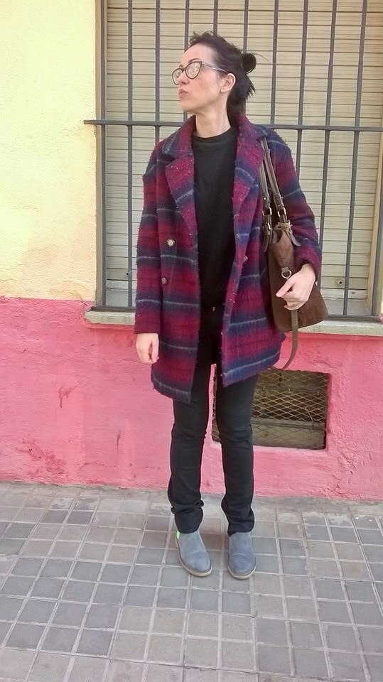 red plaid coat bissu bags neon boots