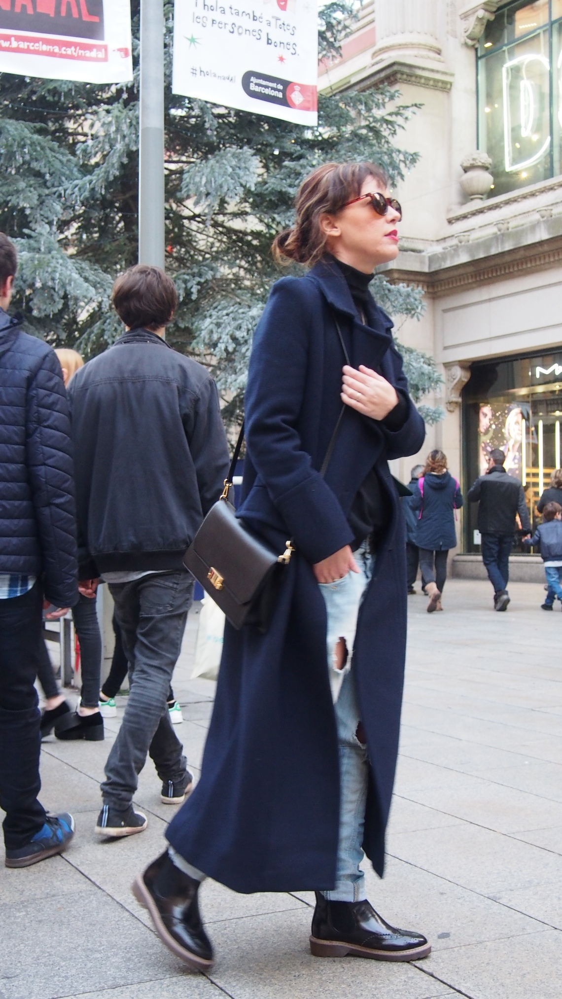 long coat normcore girl oxford boots influencer