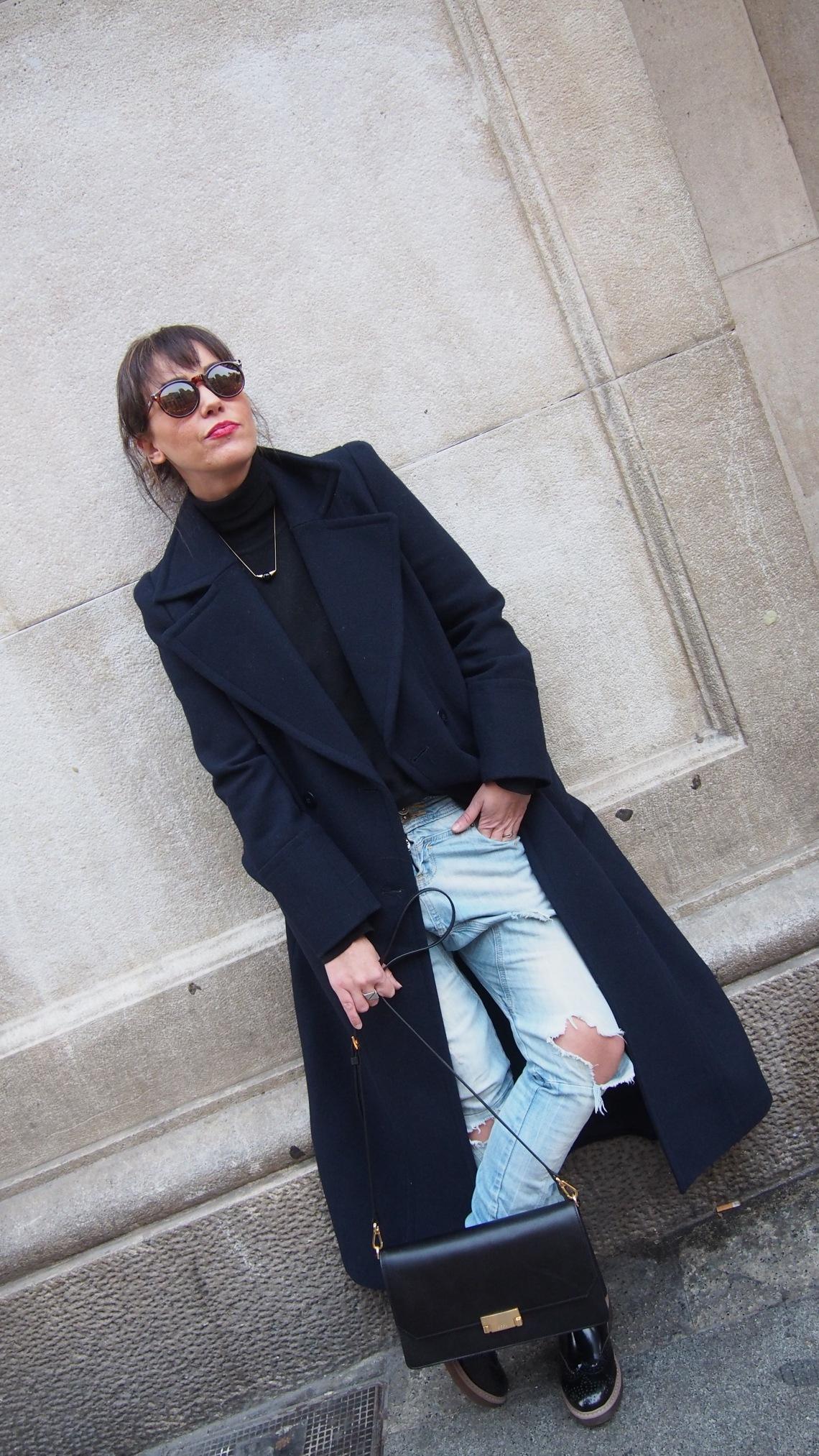 normcoregirl long coat ecco shoes bag and oxford shoes
