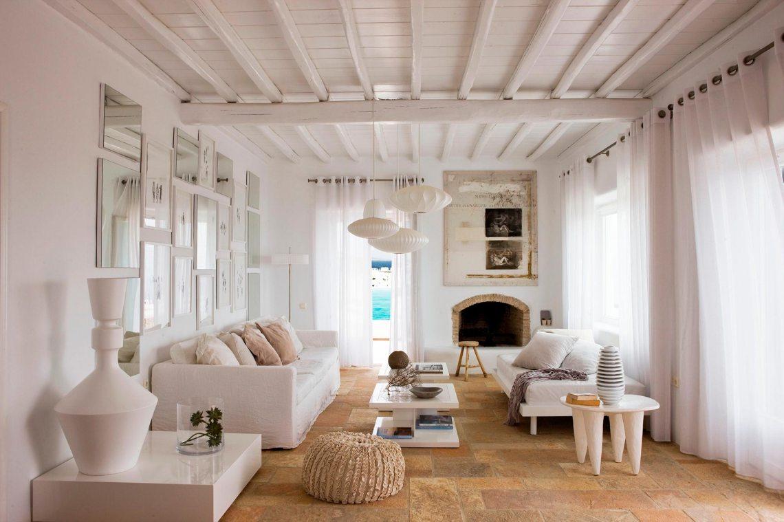 decoración minimalista rustica en blanco
