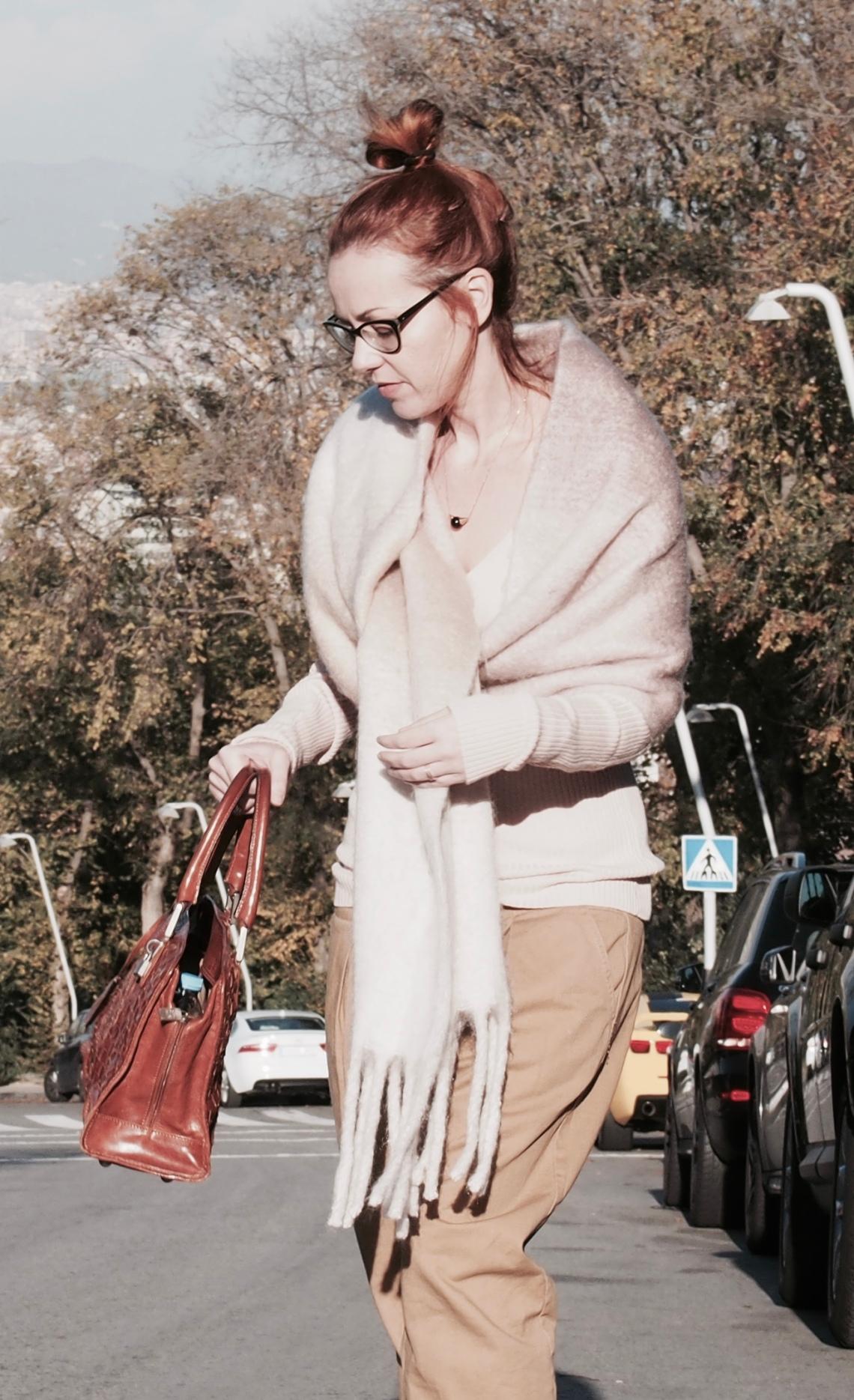 estola lana merino rosa