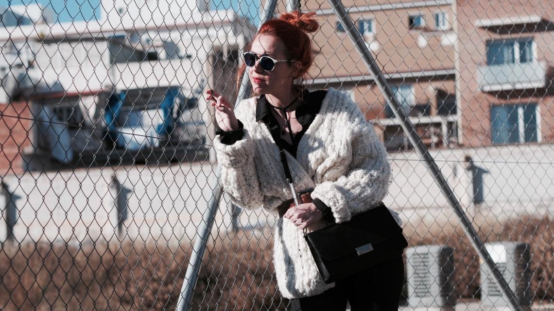 fashion blogger barcelona chaqueta maxi punto