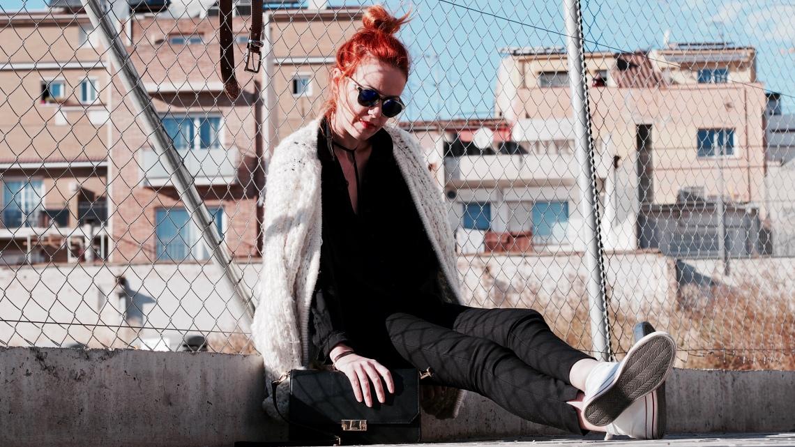 look maxi chaqueta blanca lana