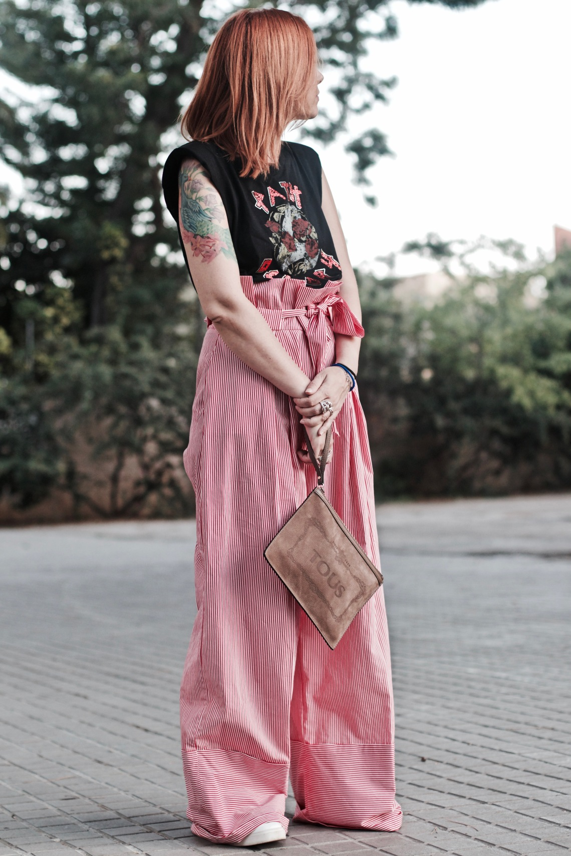 pantalon ancho rojo