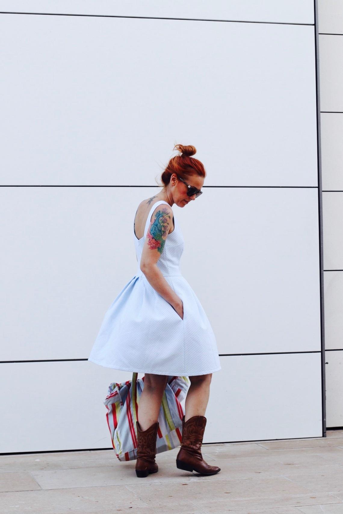fashion blogger barcelona españa vestido de piqué