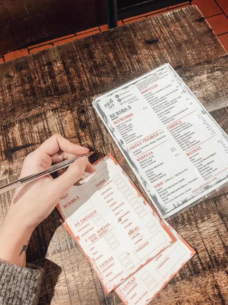 carta gluten free pikio taco barcelona